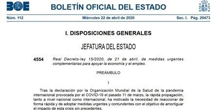 Medidas Urgentes Complementarias RD15/2020